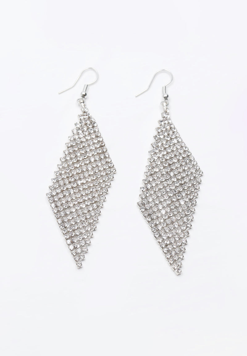 Avant-Garde Paris Rhodium Plated Long Bling Crystal Rhinestone Drop Earrings
