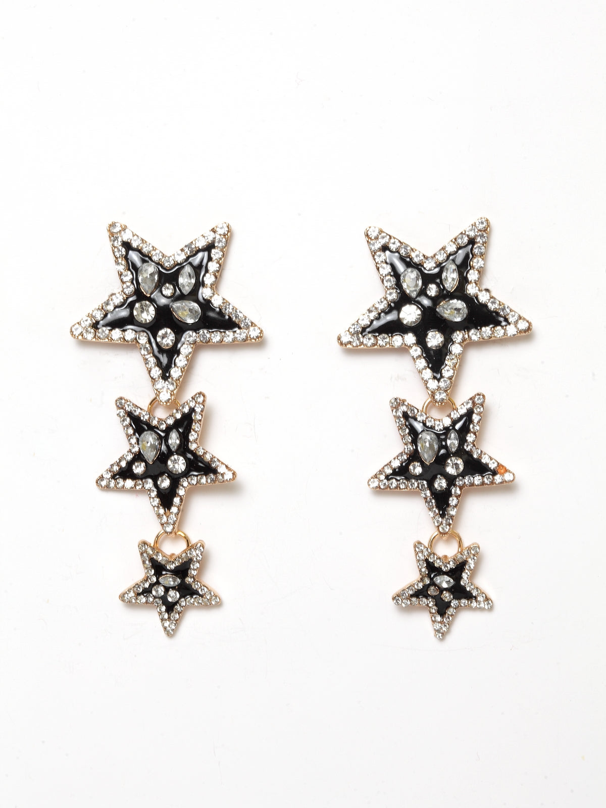 Avant-Garde Paris Statement Black Star Crystal Dangle Earrings