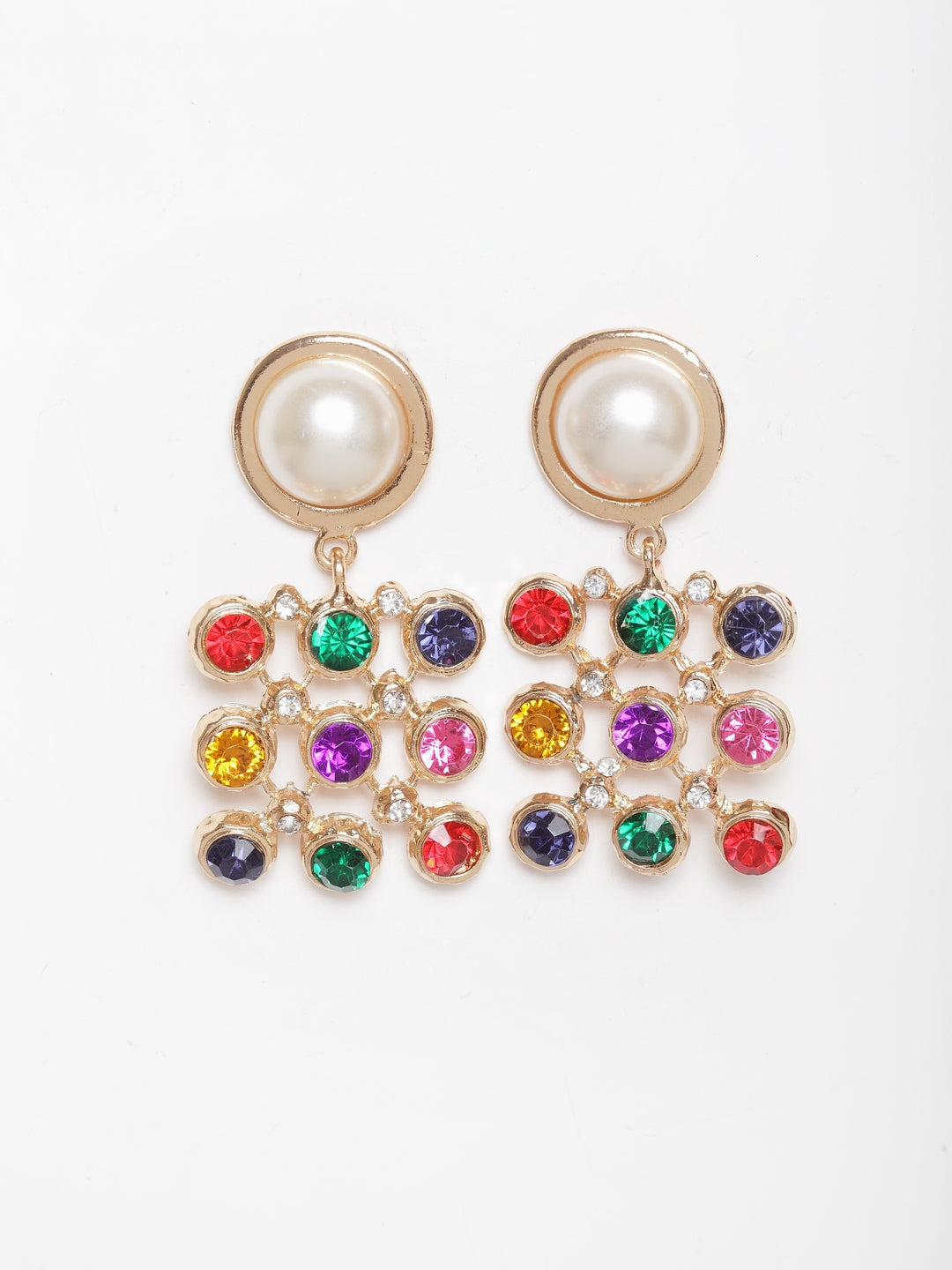 Avant-Garde Paris Vintage Crystal Pearl Square Statement Drop Earrings