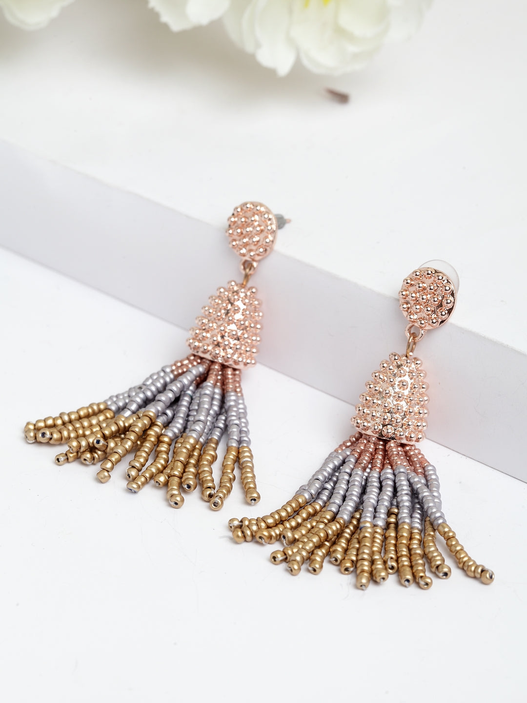 Avant-Garde Paris Acrylic Beaded Tassel Earrings