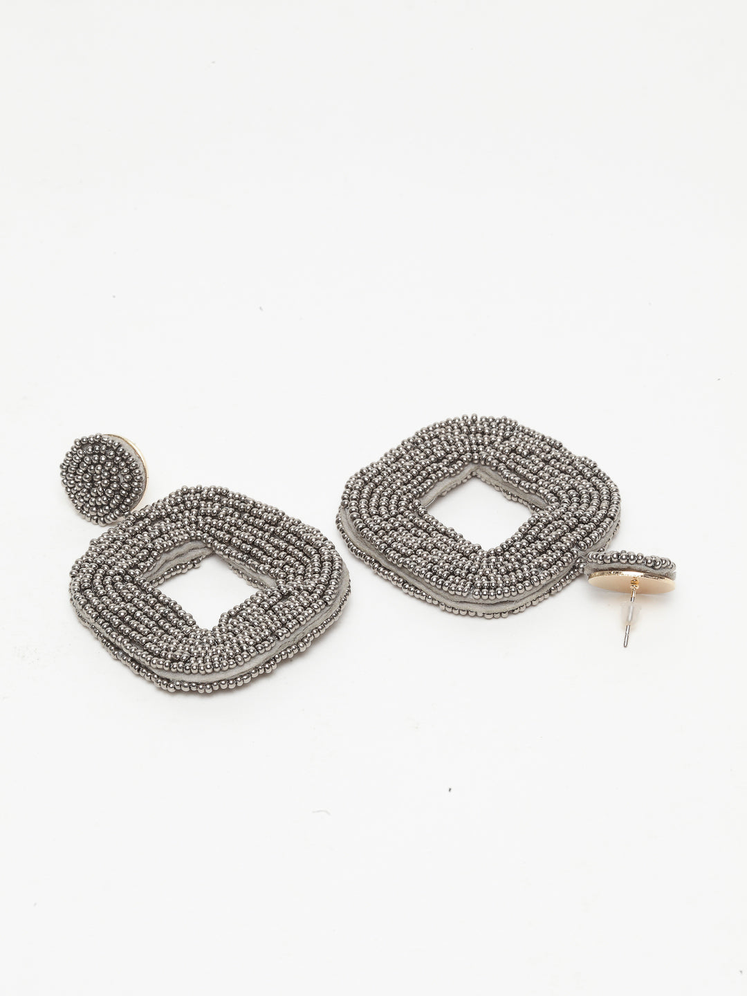 Avant-Garde Paris Bohemian Handmade Geometric Seed Beaded Hoop Earrings