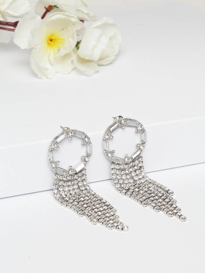 Avant-Garde Paris Statement Vintage Long Bling Crystal Tassel Earrings