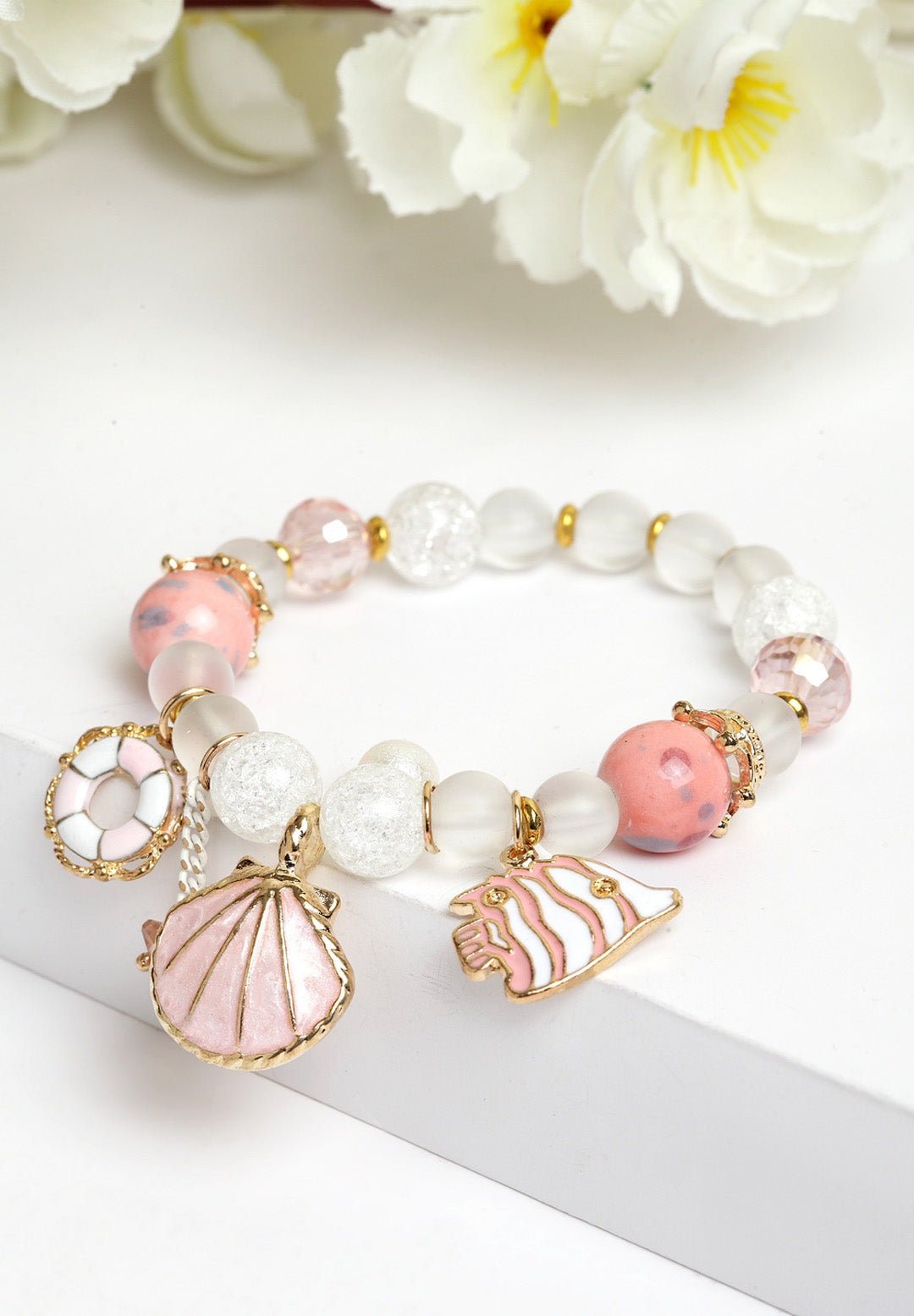 Avant-Garde Paris Boho Shell Seed Bead Natural Stone Crystal Slap Bracelet