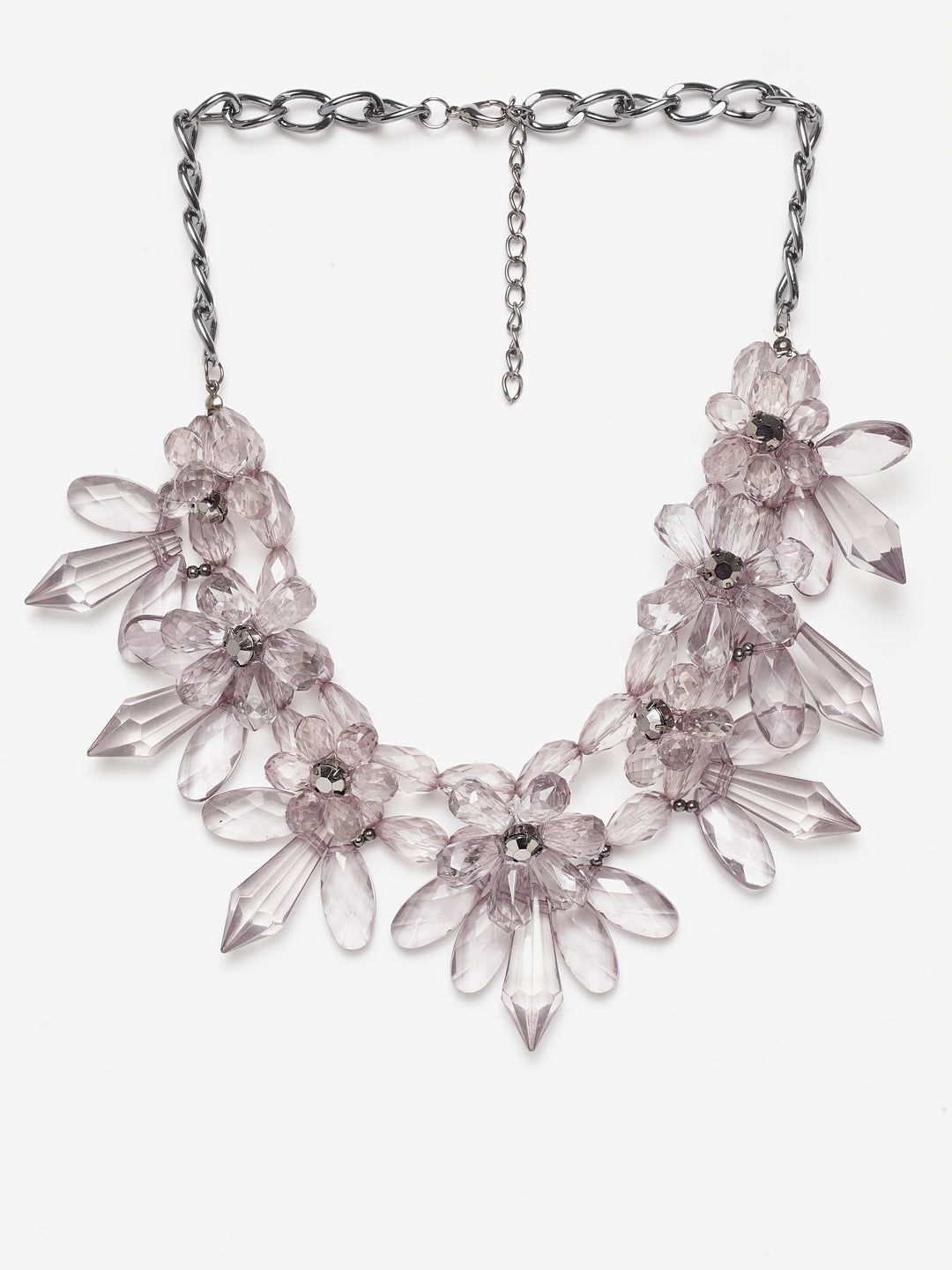 Avant-Garde Paris Statement Crystal Flower Necklace