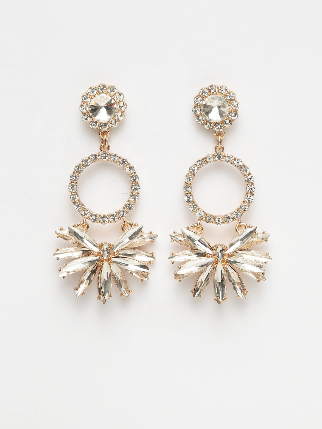 Avant-Garde Paris Gold Plated Crystals Statement Earrings