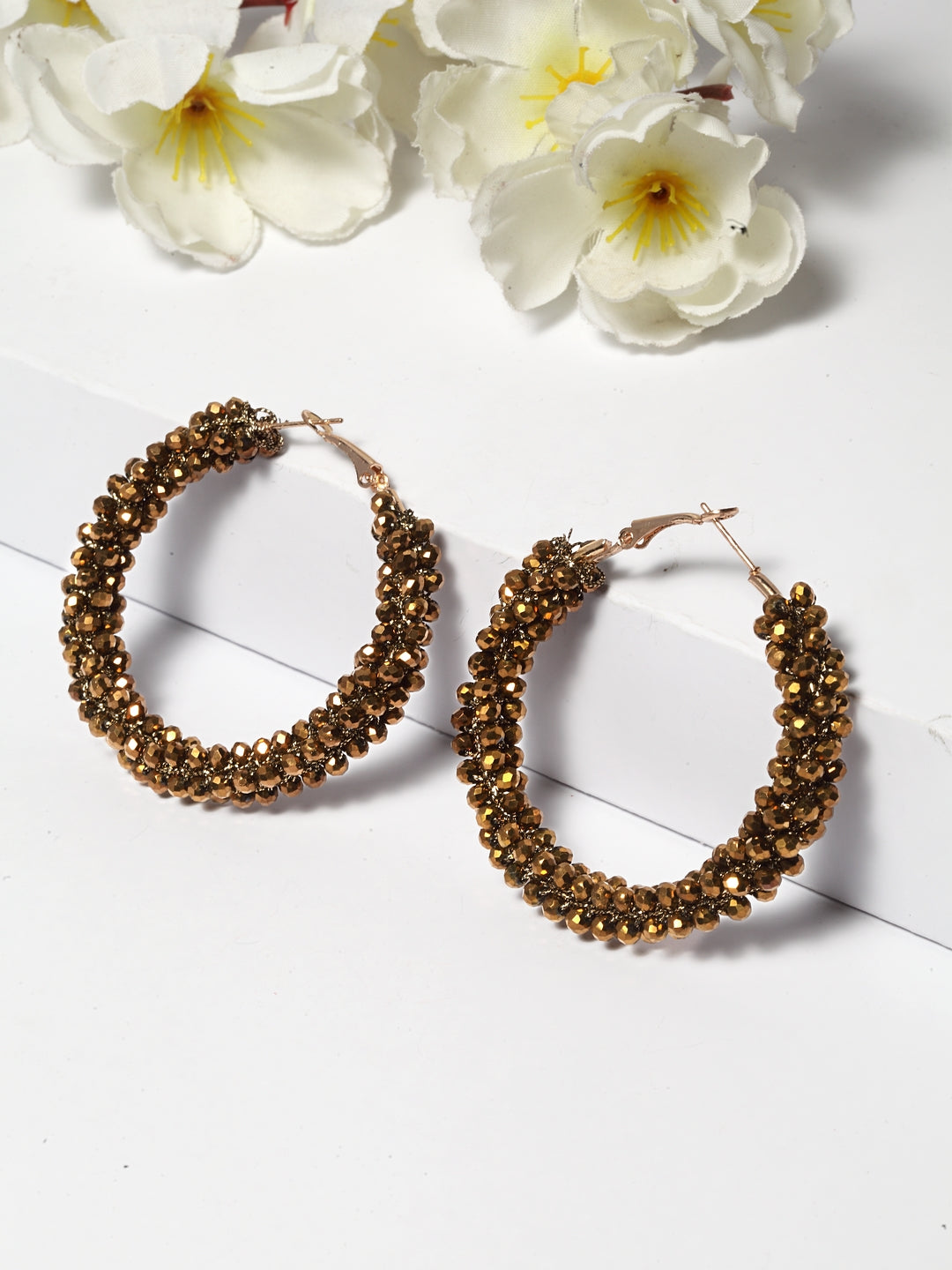 Avant-Garde Paris Beaded Hoop Earrings