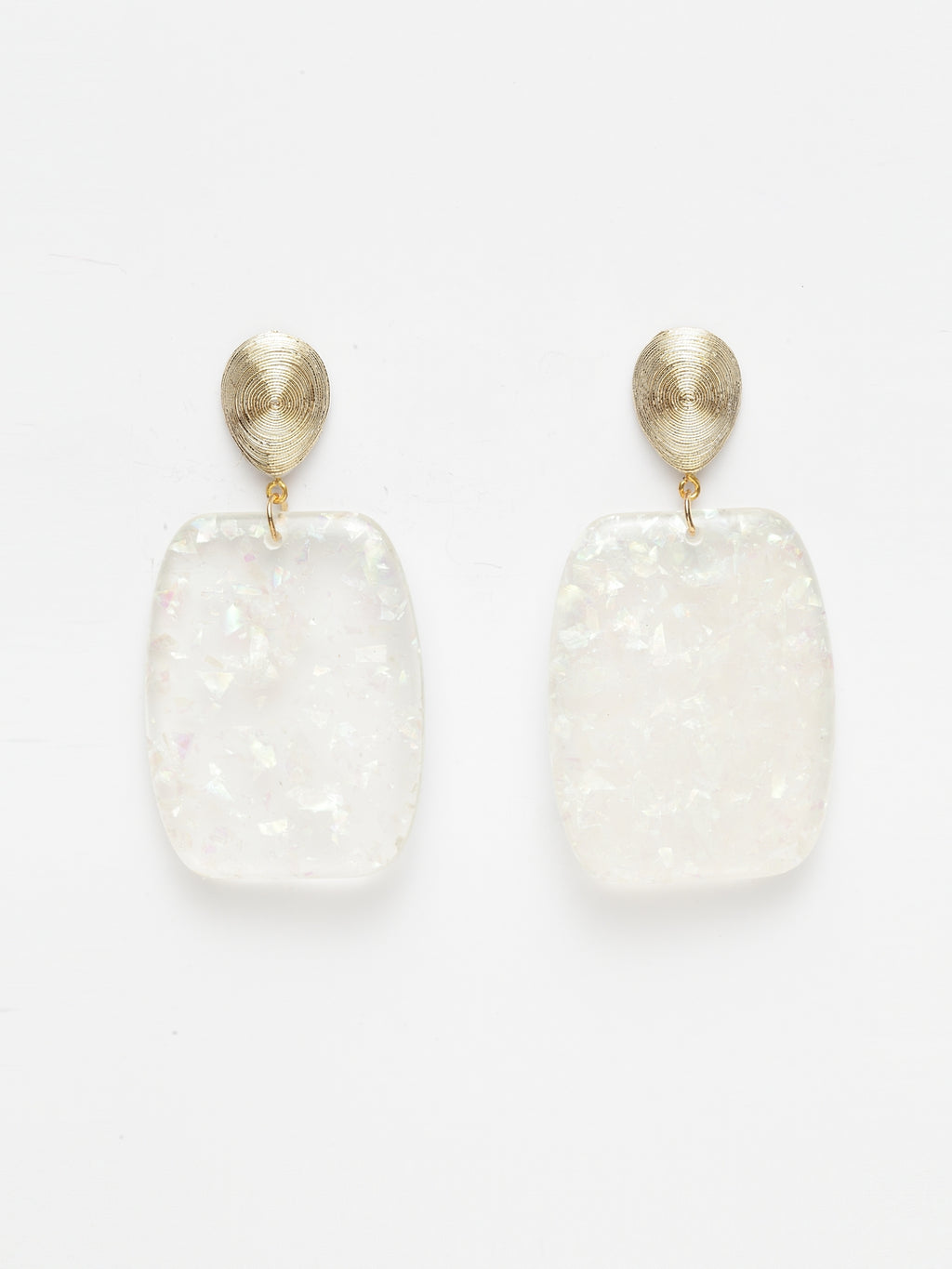 Avant-Garde Paris White Marble Textured Acrylic Earrings