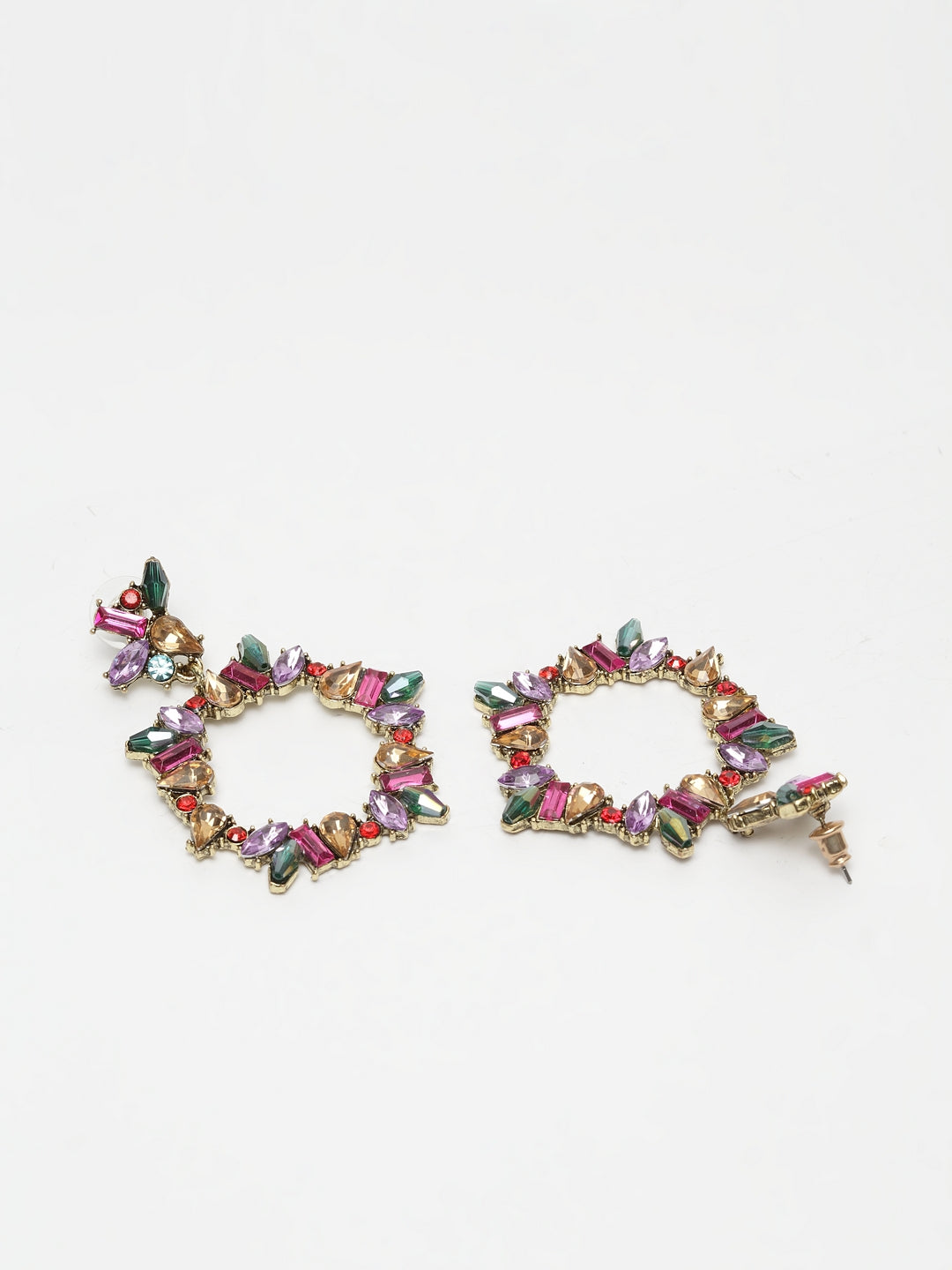 Avant-Garde Paris Circular Crystal Studded Earrings