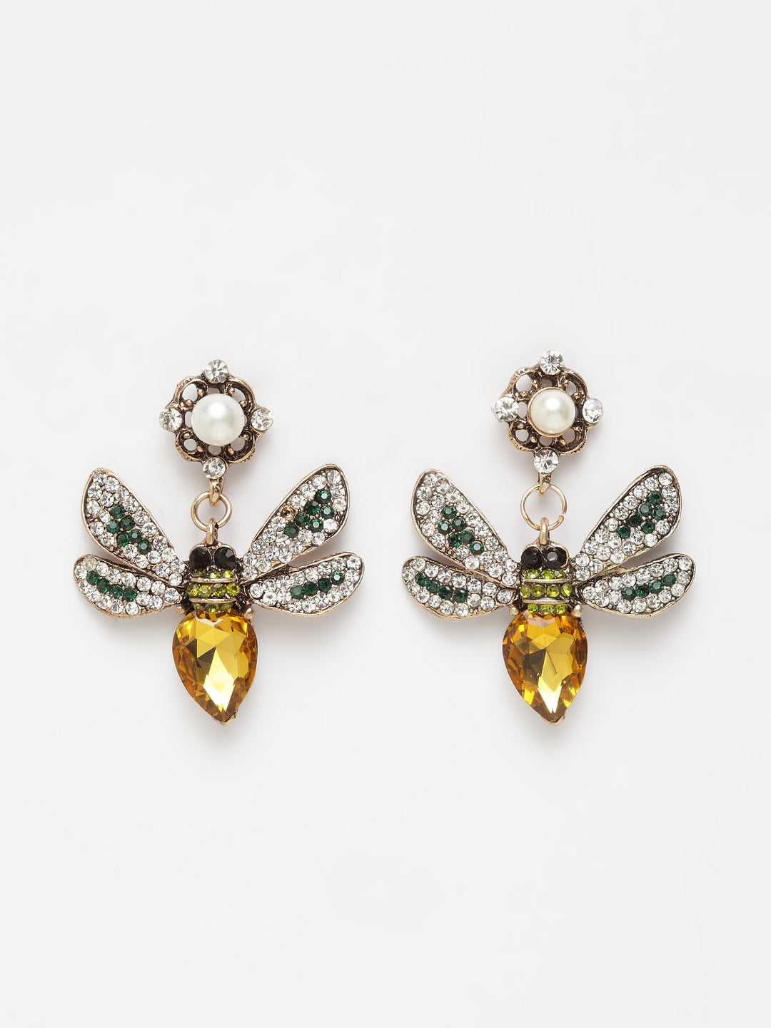 Avant-Garde Paris Yellow Bee Shaped Earrings Embellished With Crystals