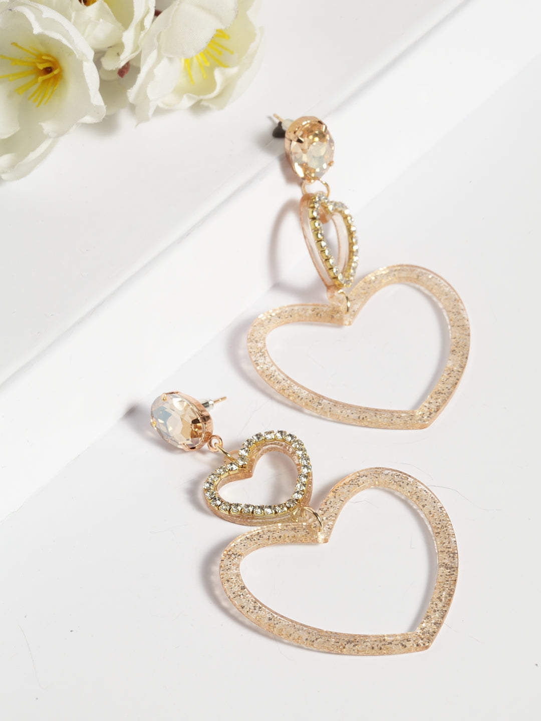 Avant-Garde Paris Double Heart Shaped Earrings In Gold