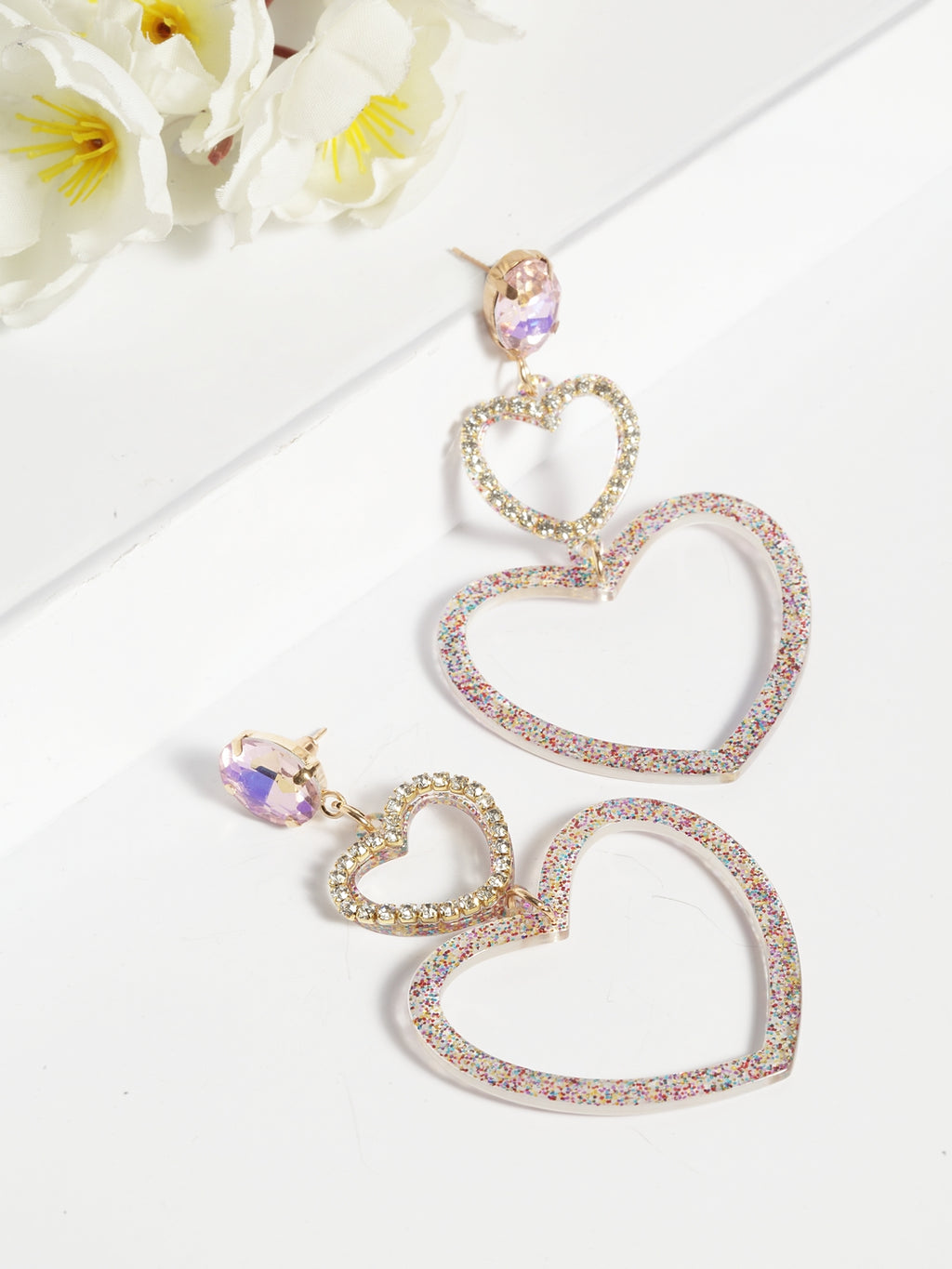 Avant-Garde Paris Double Heart Shaped Earrings In Multi Color