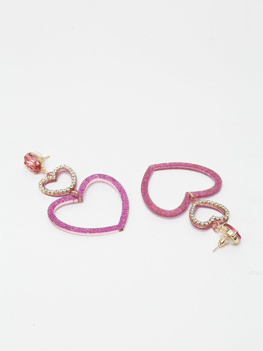 Avant-Garde Paris Double Heart Shaped Earrings In Pink