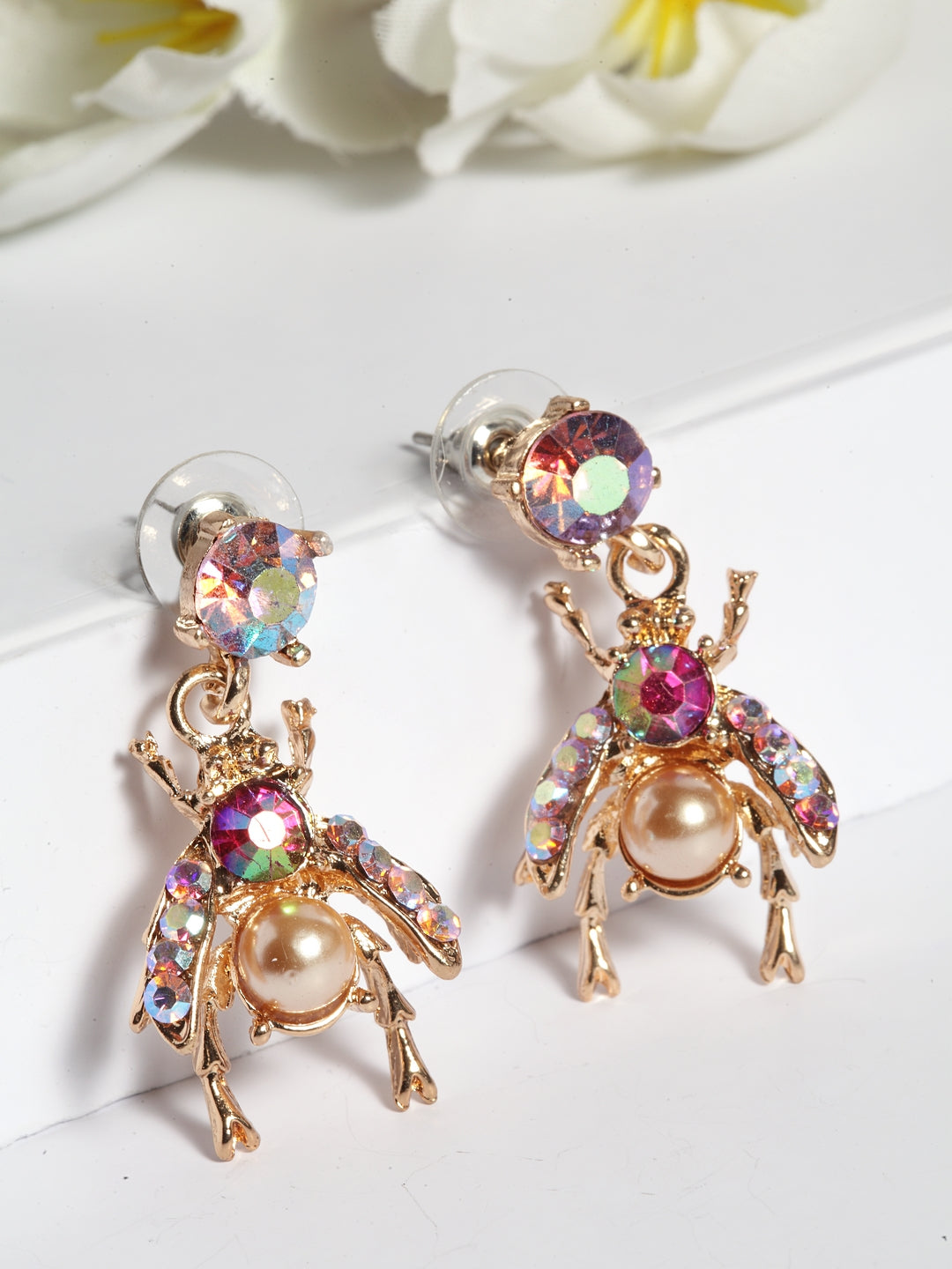 Avant-Garde Paris Gold Crystal Earrings Embellisshed With Beads