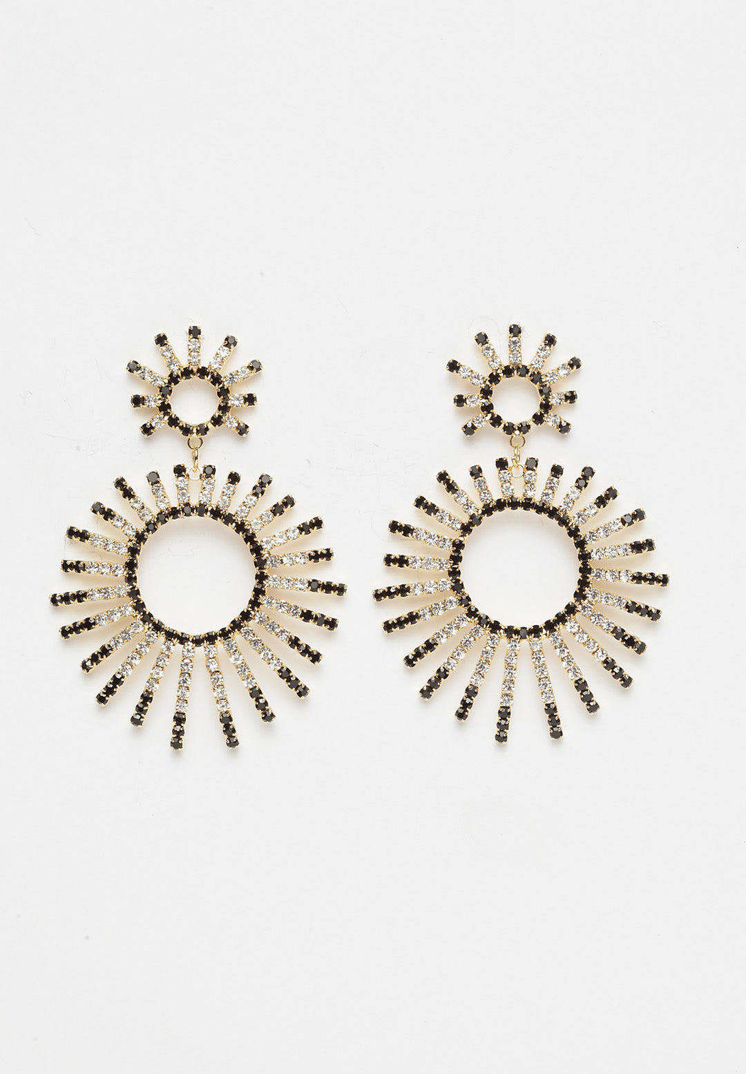 Avant-Garde Paris Circular Spiked Black Earrings