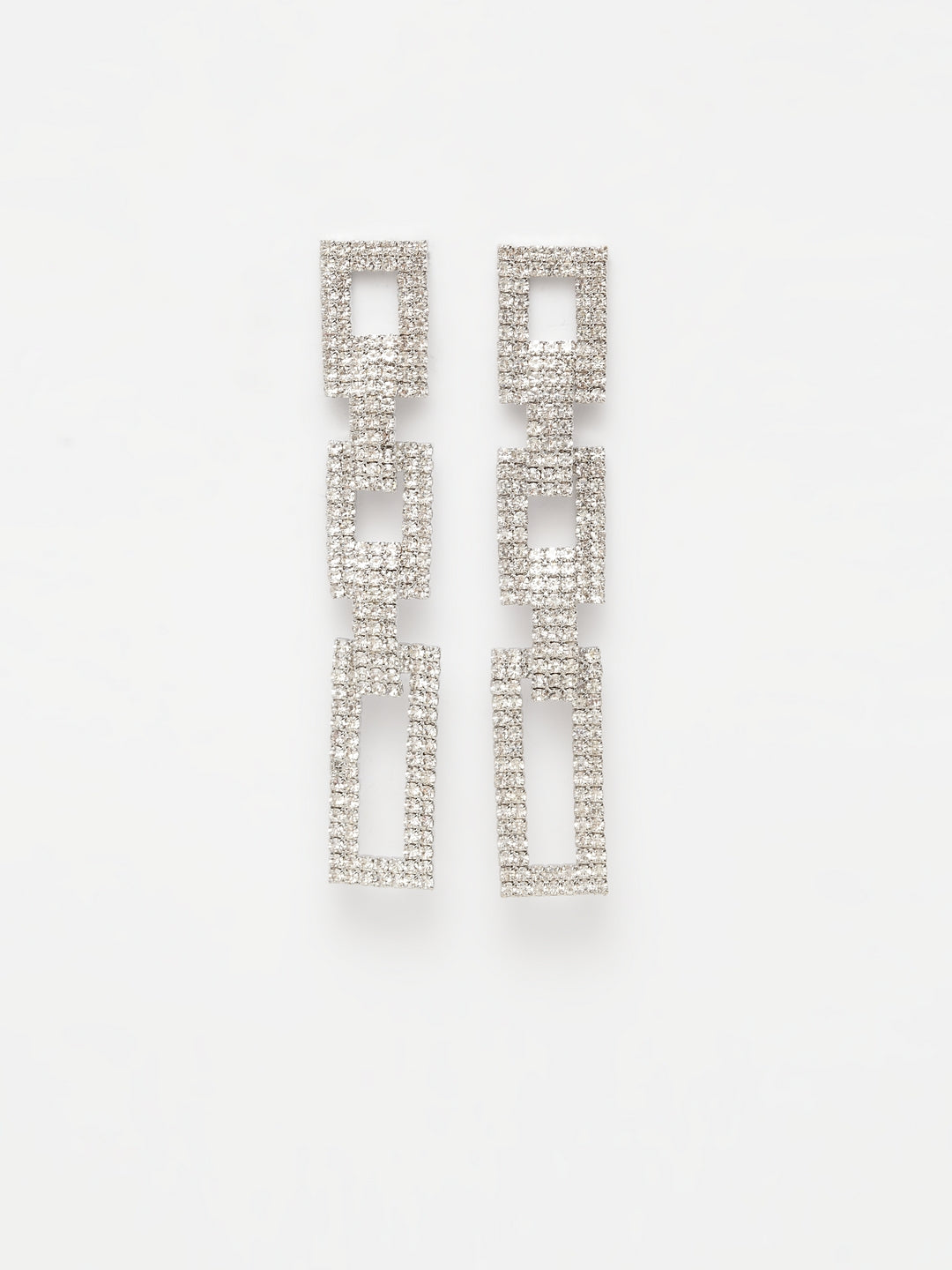 Avant-Garde Paris Geometric Square Shaped Hangings Embellished With Silver Crystal