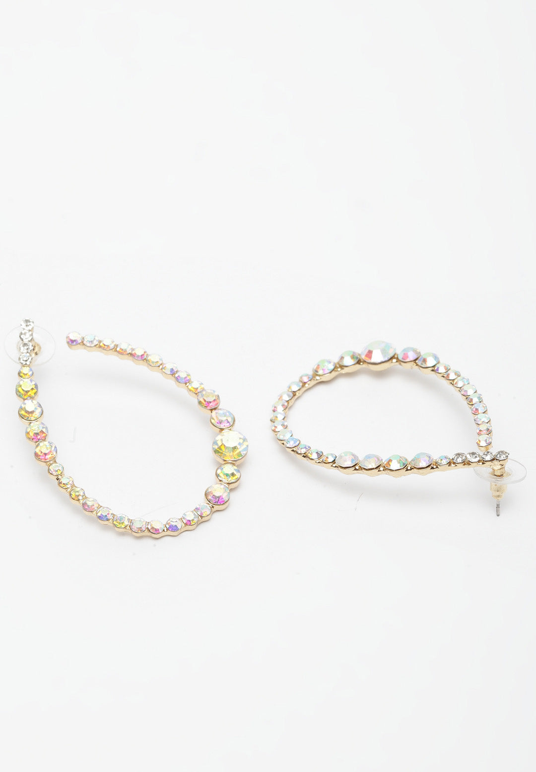 Avant-Garde Paris Multicoloured Rhodium-Plated Oval Hoop Earrings