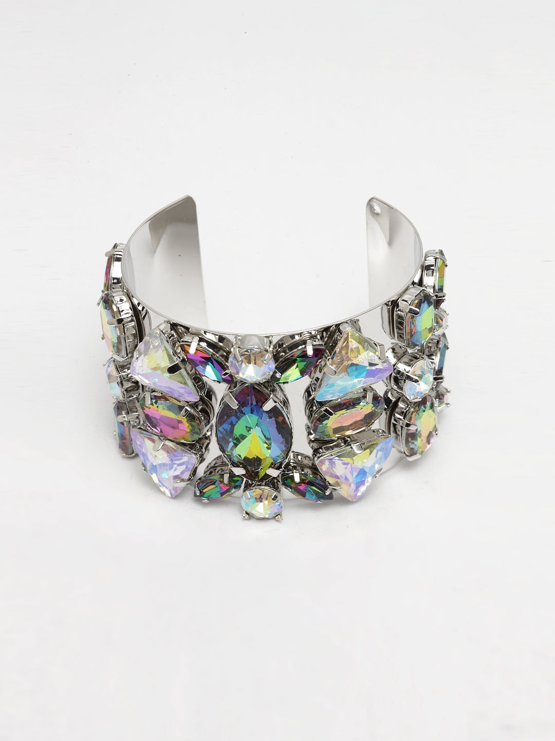 Avant-Garde Paris Heavy Crystal Studded Bracelet In Silver