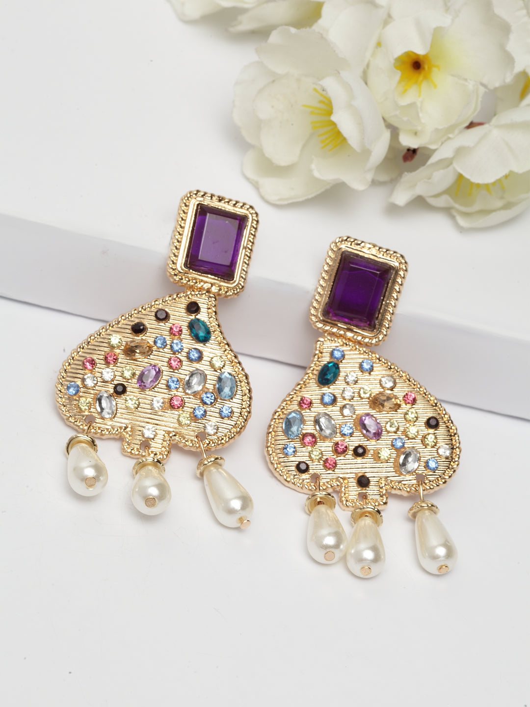 Avant-Garde Paris Contemporary Gold Plated Crystal Earrings