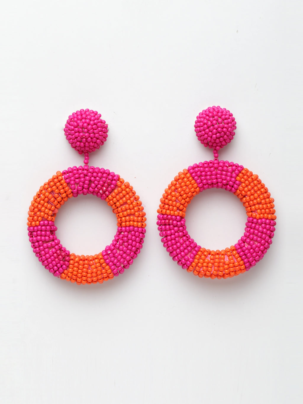 Avant-Garde Paris Statement Bohemian Handmade Beaded Hoop Earrings