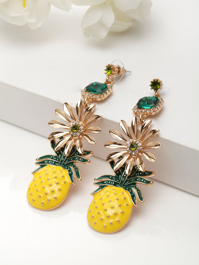 Avant-Garde Paris Statement Bohemian Cute Fruit Pineapple Drop Dangle Earrings