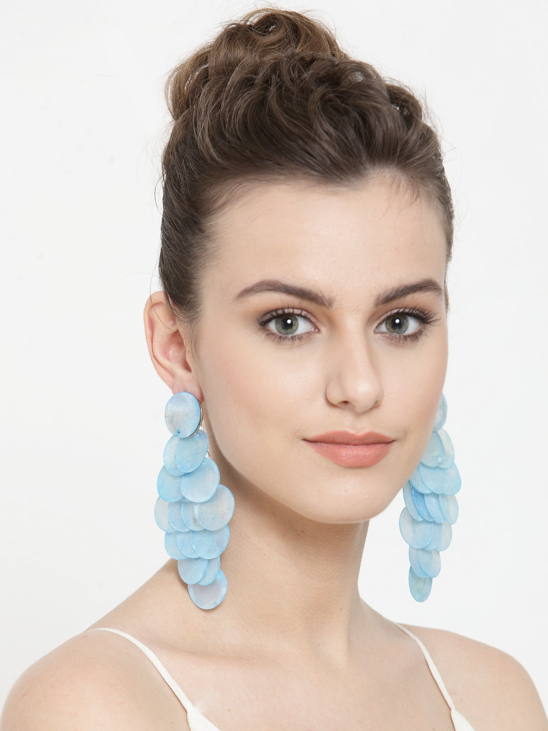 Avant-Garde Paris Fashion Statement Hawaii Beach Blue Sea Shell Conch Teardrop Earrings