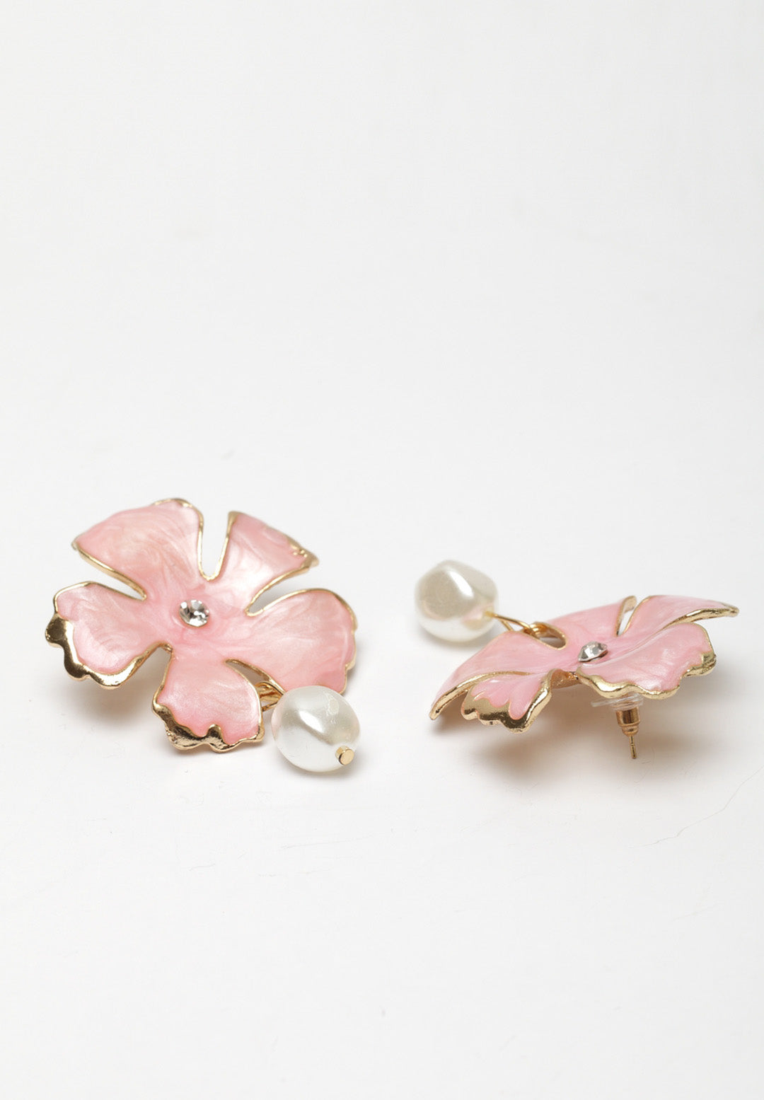 Avant-Garde Paris Statement Bohemian Summer Cute Pink Pearl Flower Stud Earrings