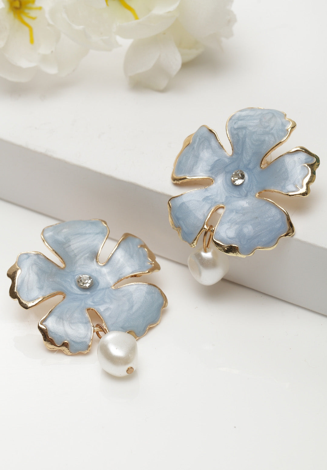 Avant-Garde Paris Statement Bohemian Summer Cute Blue Pearl Flower Stud Earrings