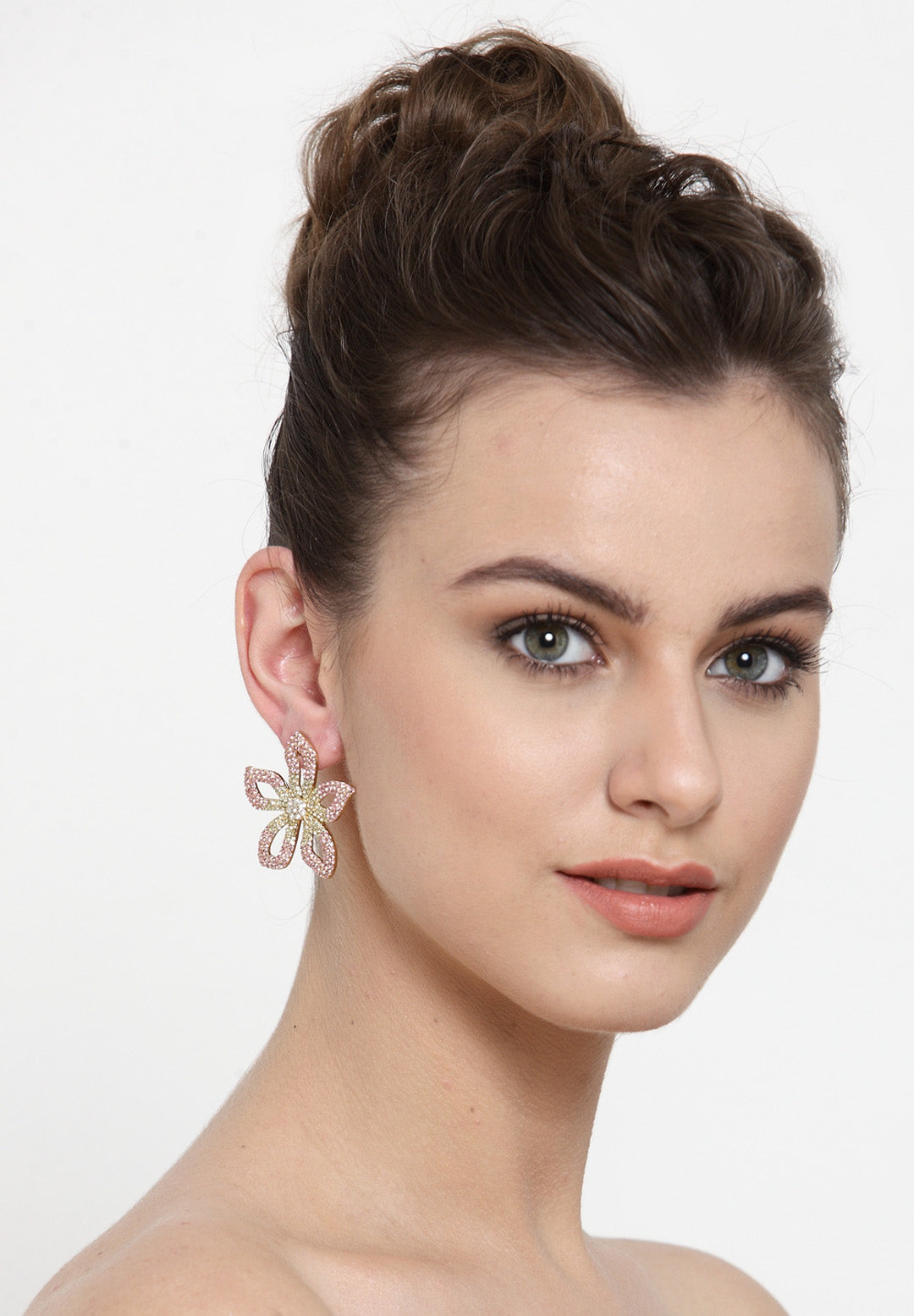 Avant-Garde Paris Statement Vintage Bohemian Big Crystal Flower Stud Earrings