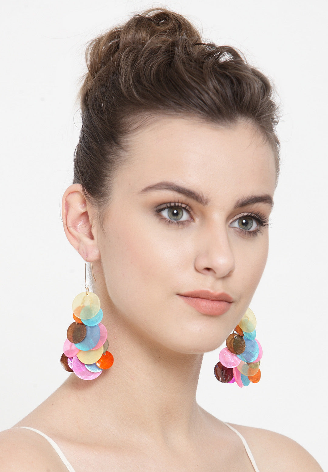 Avant-Garde Paris Statement Bohemian Shell Rainbow Sequin Fringe Tassel Drop Dangle Earrings