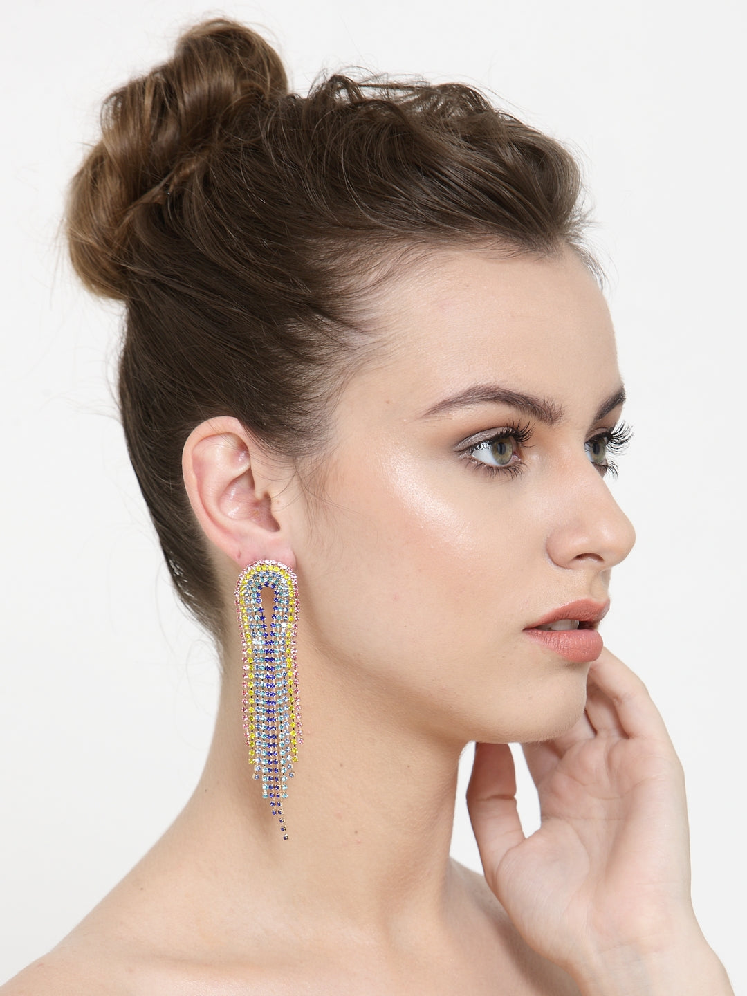 Avant-Garde Paris Statement Vintage Luxury Long Crystal Tassel Drop Earrings