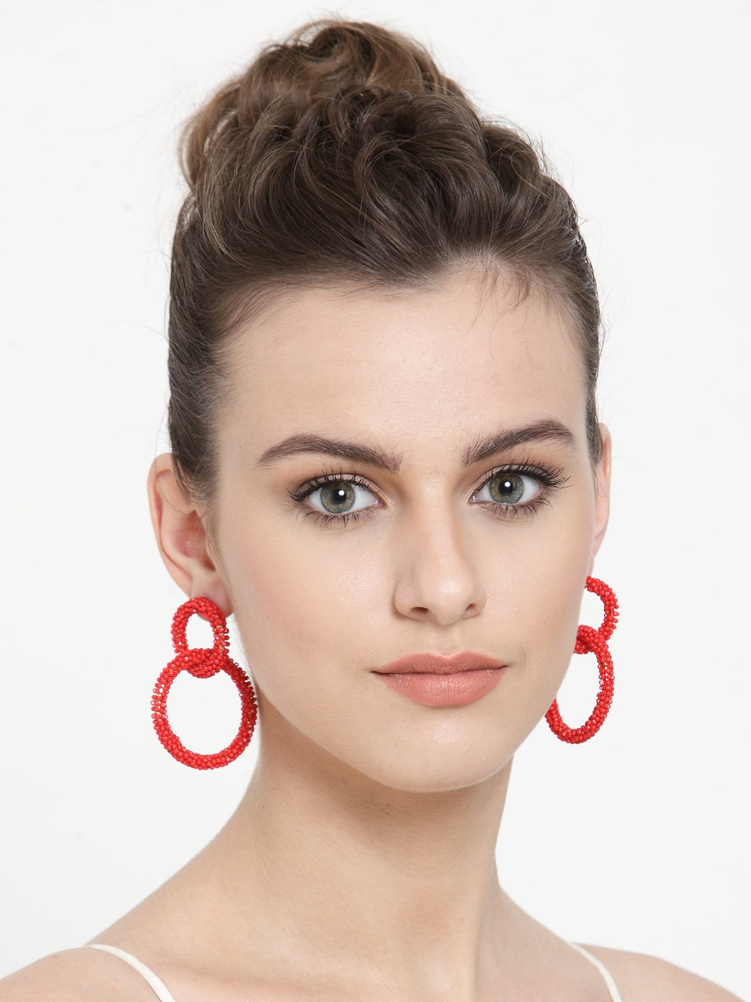Avant-Garde Paris Bohemian Double Hoop Beaded Earrings