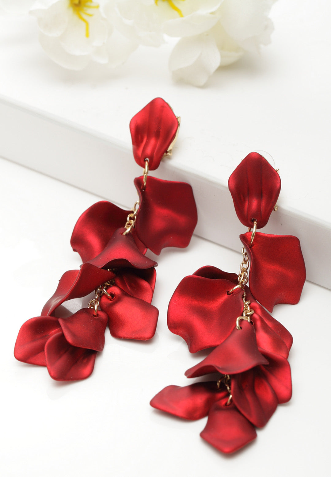 Avant-Garde Paris Luxury Statement Petals Shape Long Earrings