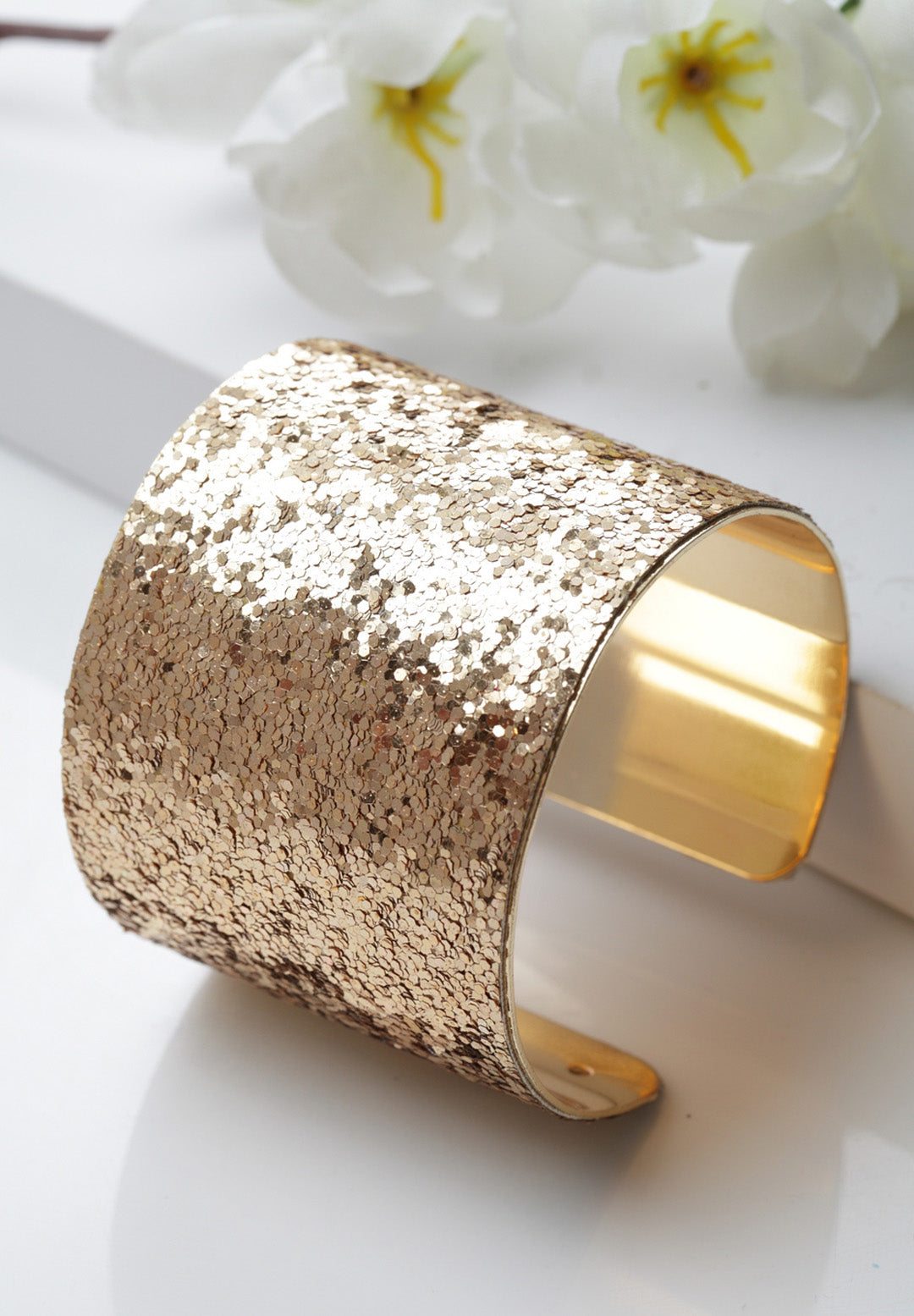 Avant-Garde Paris Luxury Statement Sequins Cuff Bangle