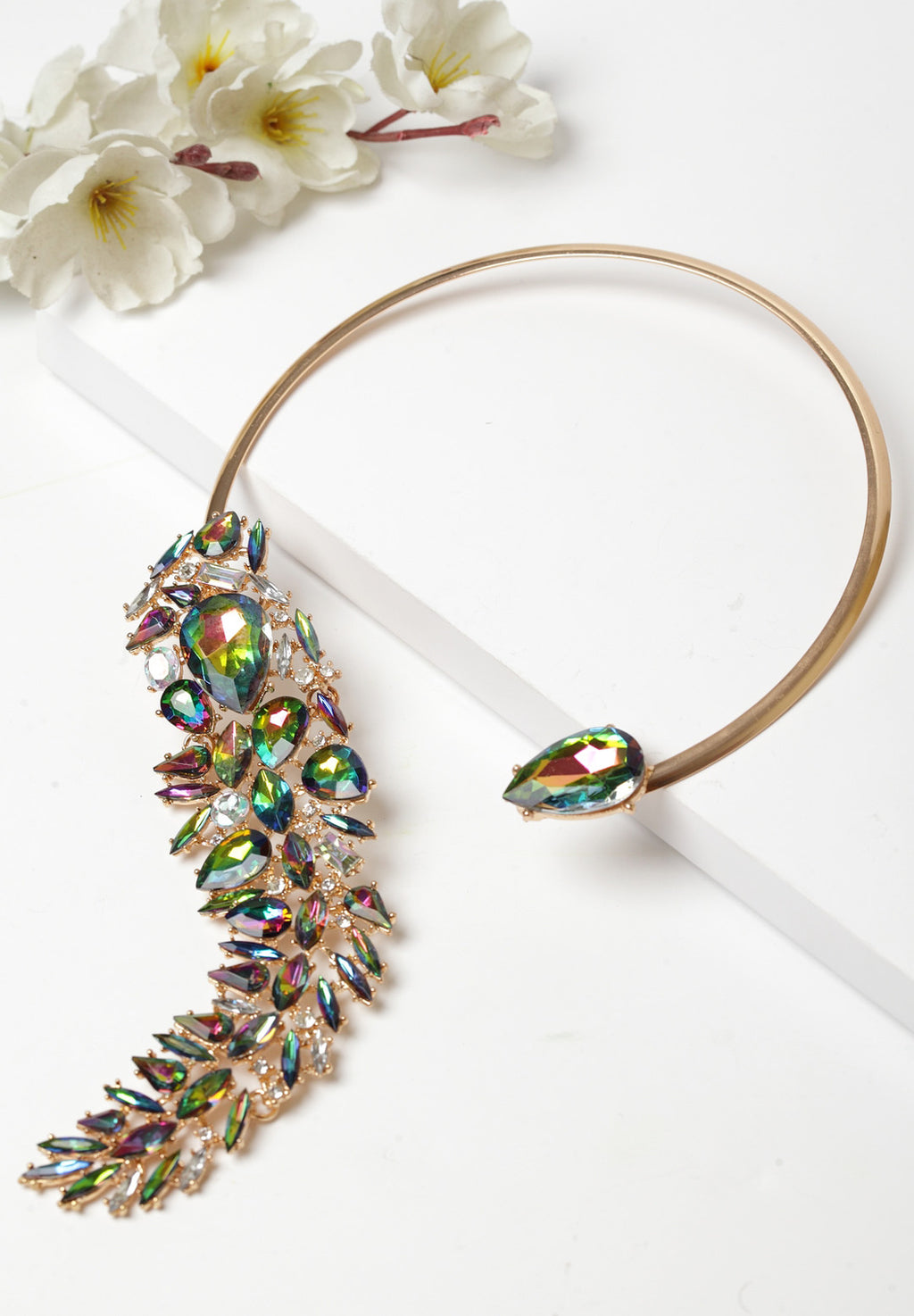 Avant-Garde Paris Crystal Statement Cuff Collar Necklace