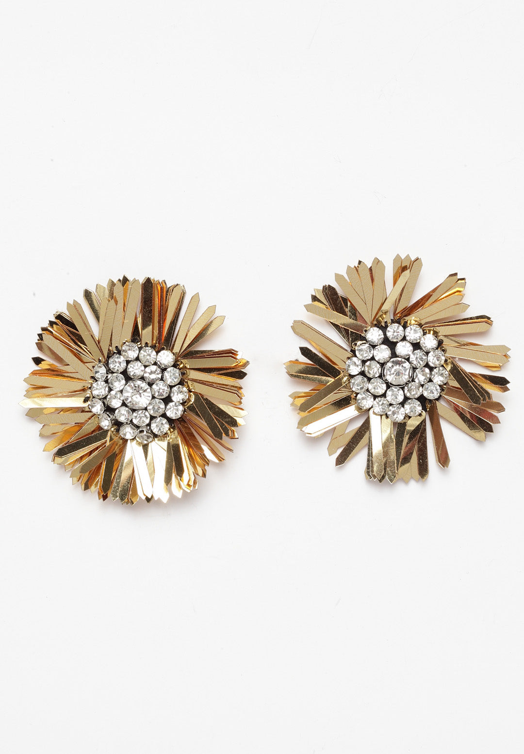 Avant-Garde Paris Flower Rhinestone Stud Earrings