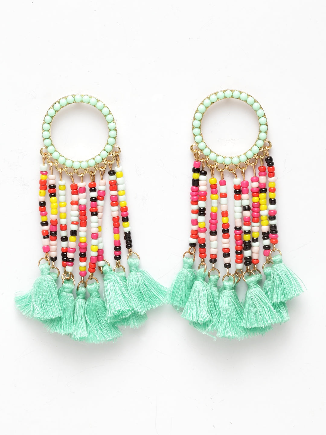 Avant-Garde Paris Statement Bohemian Loop Dangle Beaded Tassel Earrings