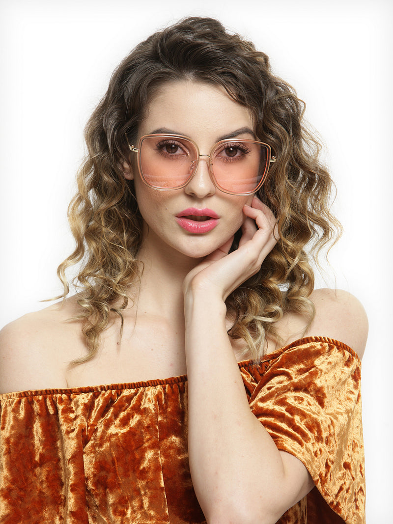 Avant-Garde Paris Women oversized summer pink shades trendy transparent sunglasses
