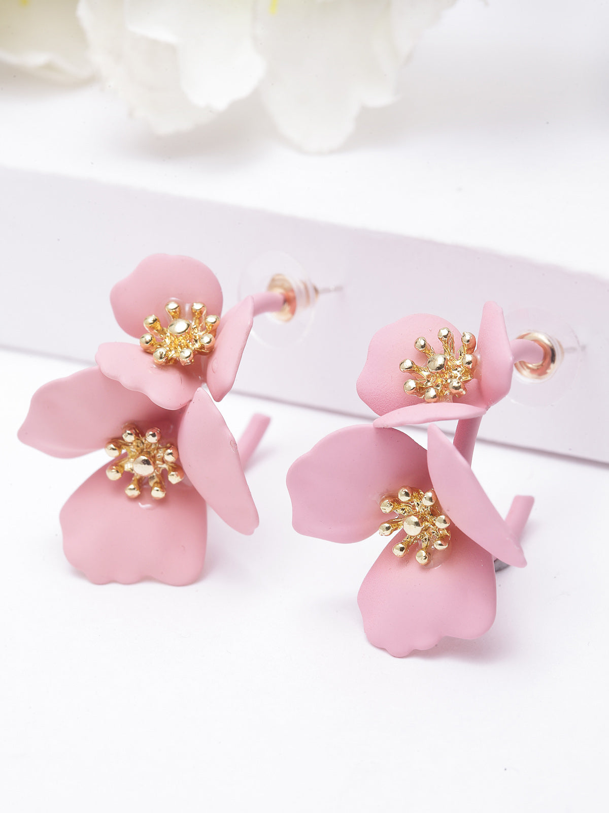 Avant-Garde Pink Floral Hanging Paris Earrings