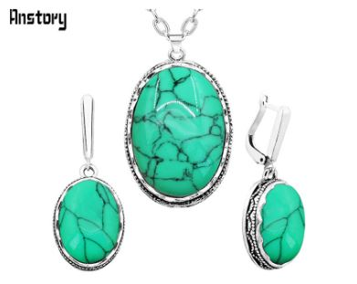 3 piece set Oval Natural Stone Jewelry Set Choker Necklace Earrings Rings For Women Hollow Flower Pendant Stainless Steel Chain