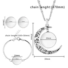 Load image into Gallery viewer, Silver Color Jewelry Sets Moon Pendant Necklace Earrings Bracelet Tree Of Life Picture Glass Cabochon Women Gift