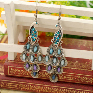 Classic Vintage Colorful Crystal Peacock Necklace Earring Jewelry Set