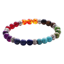 Load image into Gallery viewer, Mens Womens 7 Chakra Mixed Stone Healing Chakra Pray Mala Bracelet Lava Rock DIY Beads Jewelry Balancing Bracelets