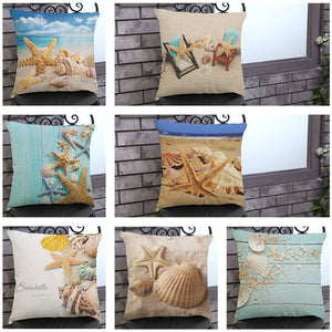Mediterranean Sea Beach Style Starfish Shell Cushion Covers Pillowcase Decorative Pillow Cover 45x45cm Home Decor