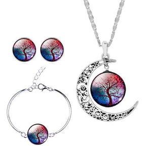 Silver Color Jewelry Sets Moon Pendant Necklace Earrings Bracelet Tree Of Life Picture Glass Cabochon Women Gift