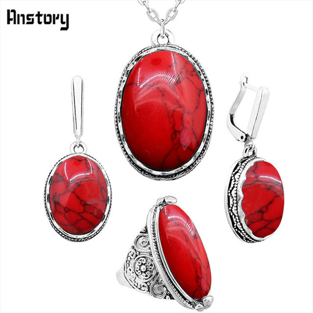 great gift for mum or grandma Oval Natural Stone Jewelry Set Choker Necklace Earrings Rings For Women Hollow Flower Pendant Stainless Steel Chain