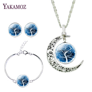 Silver Color Moon Shaped with Glass Cabochon Tree of Life Pattern Pendant Necklace Earring & Bangle Set for Women Gift