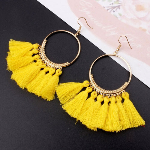 Bohemian Handmade Women Vintage Round Long Drop Earrings