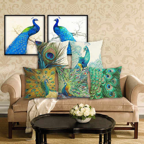 New Home Decor Peacock Cushion Cover Linen 45x45cm