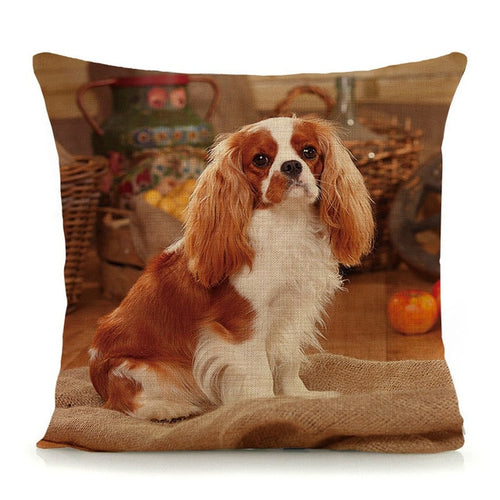 dog printed cushion cover