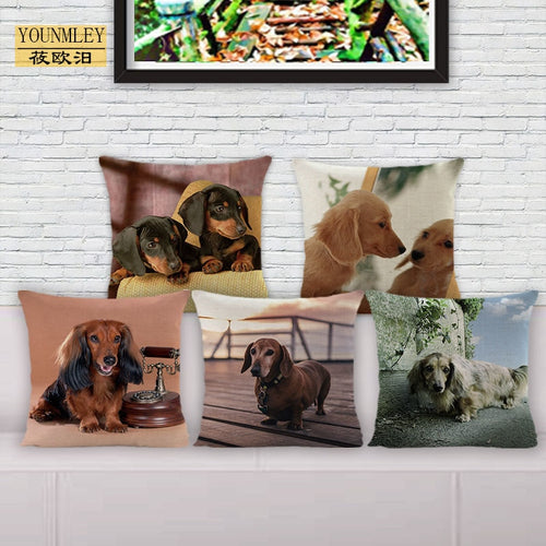 dog printed cotton linen cushion cover 45x45cm